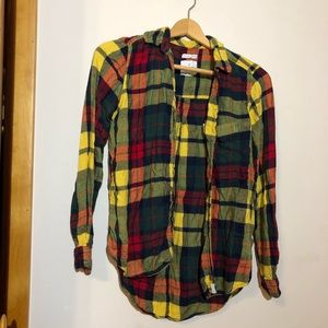 American Eagle Rainbow Plaid Buttoned Shirt